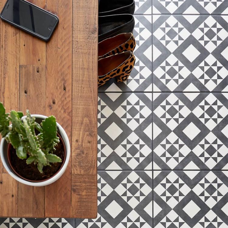 Retro Black Feature Floor Tile Porcelain