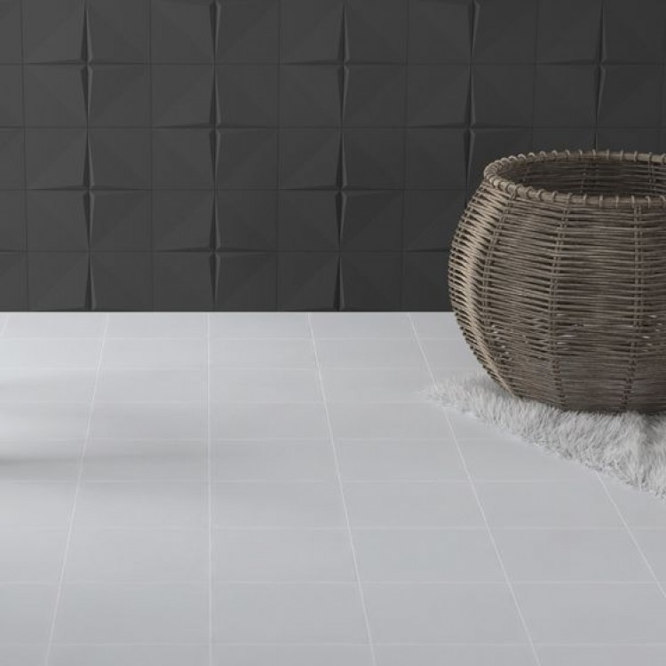Crafted Cement Plain Off White Glazed Porcelain 185x185mm