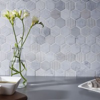 Fog Stone Hexagon Mixed Finish Marble Mosaic 48x48mm