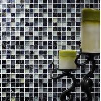 Hammered Pearl Black/White Glass Mosaic 23x23mm