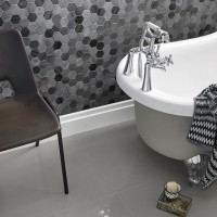 Midnight Stone Hexagon Mixed Finish Marble Mosaic 48x48mm