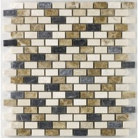 Marseille Empredor Tumbled Marble Mini Brick Mosaic 15x30mm